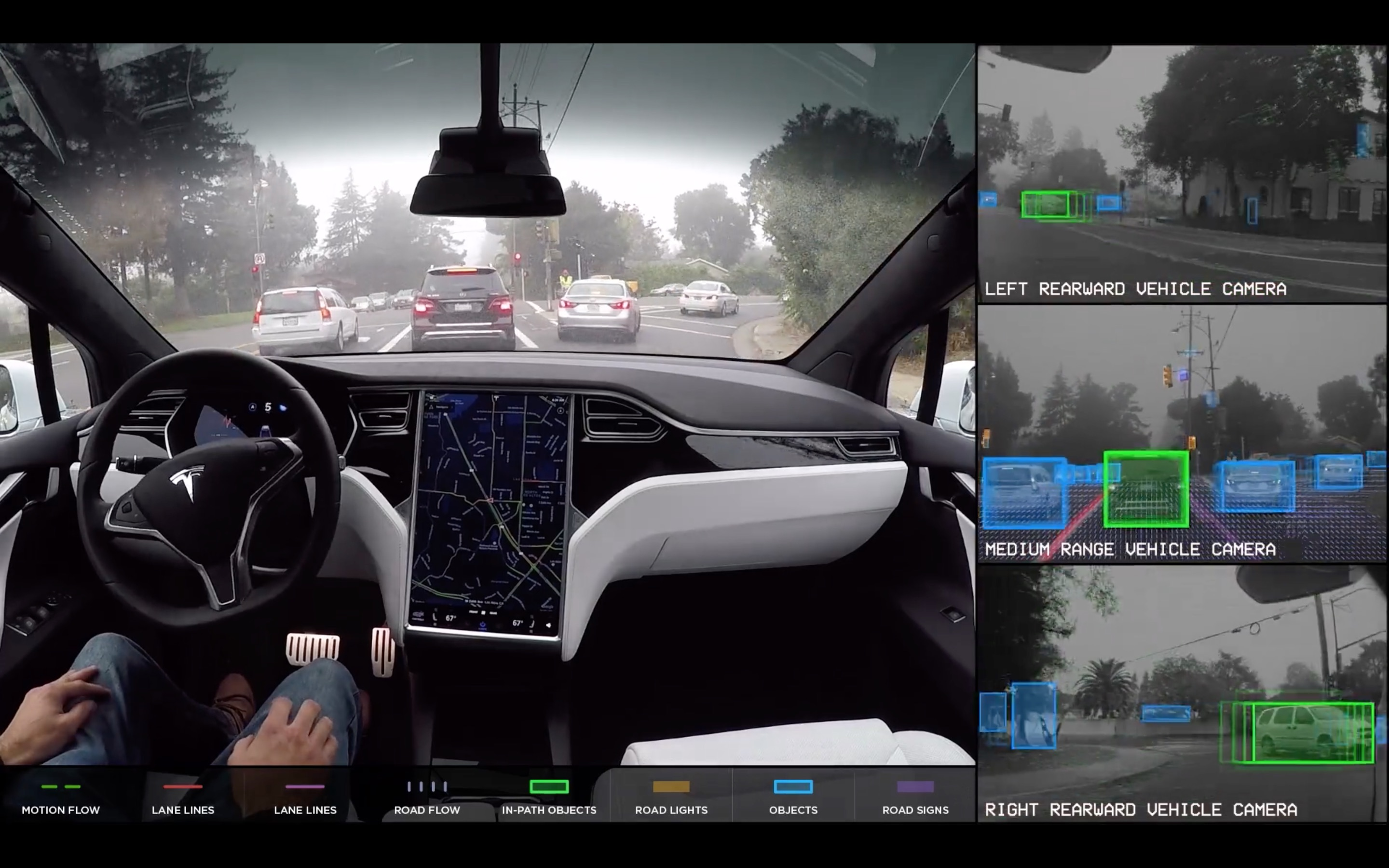 Tesla self-driving car in action
